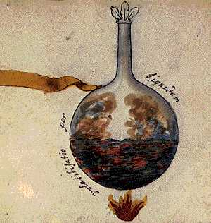 Volatilisation Through Liquid From Cabala Mineralis Manuscript, Hermetic Emblems From Manuscripts 1